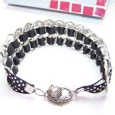 Bracelet languettes de canette,ruban noir à pois, recyclage
