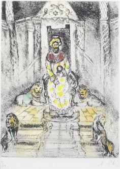 Marc Chagall, Salomon sur son trône, pl. 81, from La Bible