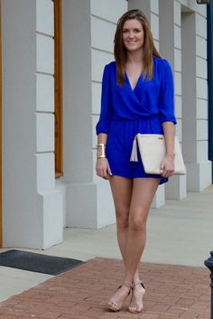 Vibrant royal blue romper with a fabulous v-neck, taupe heels, a simple gold cuff, and a GiGi New York off white uber clutch.  Perfect for all occasions in spring/summer. -Studio 3:19