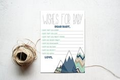 Wishes for Baby Boy Shower Printable Download Insert, Dear Baby Shower Game, Mountains Navy & Mint Tribal Camping Party Invite, Matching