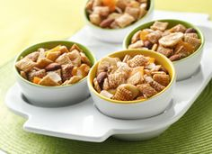 Chex Apple Cinnamon Fruity Snack Mix recipe - gluten- and dairy-free. Ditch the almonds and it's nut-free, too!