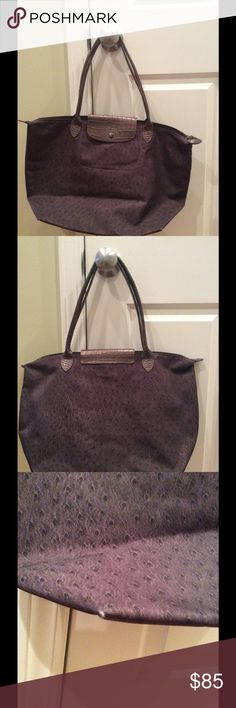 Longchamp Le Pliage Bag - Gray Ostrich Print -Rare This is a barely used Longchamp Le Pliage bag. The outside is in excellent condition. The corner has slight wear which I tried to capture. The handles are in great shape. Please ask any questions. Longchamp Bags Shoulder Bags