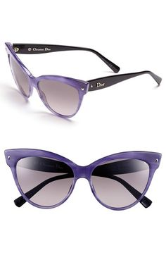Women's Dior 'Mohotani' Cat Eye Sunglasses from Nordstrom. Latest Sunglasses, Black Sunglasses, Cat Eye Sunglasses, Purple Cat, Purple And Black, Handbag Accessories, Fashion Accessories, Christian Dior Sunglasses, Sunnies