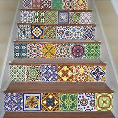 Tendance carreaux ciment | carrelage adhésif pour escalier motif mexicain moonwallstickers