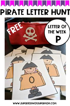 Looking for fun and FREE activities to teach the alphabet?  This Pirate Letter Hunt is the perfect idea for all kids, including Kindergarten, Preschool, and even Toddlers!  Works well for letter P week when teaching a letter of the week program too!  Click through to get all the details and your link to your printable FREEBIE game!