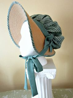 LAST ONE of the Soft Regency Bonnet and matching Reticule Set sage green Jane Austen by LaCaroVintagePassion,