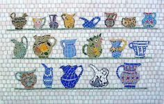 Mosaic Art by Cynthia Fisher, pitcher collection mosaic that belonged to my mother and grandmother Mosaic Crafts, Mosaic Art, Mosaic Pictures, Mosaic Madness, Old Quilts, Creative Art, Creative Ideas, Coffee Cups, Stained Glass