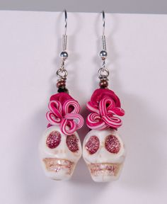 50% off sugar skull earrings with pink polymer clay by PardoeArt only 17.50 ooak