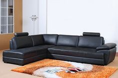 Tosh TOS-VT-S901 Modern Black Leather Sectional Sofa Chaise Adjustable