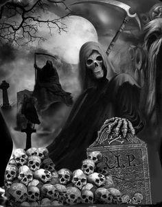 ♠️When darkness falls. Death Reaper, Grim Reaper Art, Grim Reaper Tattoo, Don't Fear The Reaper, Dark Fantasy Art, Dark Art, Skull Tattoos, Sleeve Tattoos, Marduk Band