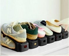 6x Shoe Grooves Stackable Shoes Rack Organiser Space Saving Portable Storage  | eBay