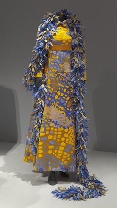 """Bill Blass (American, 1922-2002), """"Evening dress with boa,"""" 1960s; Indianapolis Museum of Art, Gift of Mrs. Gerald L. Herzfeld, 1985.150A-B"""