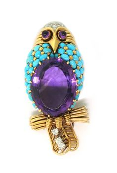 owl brooch, pin.  amethyst, turquoise, diamonds, gold