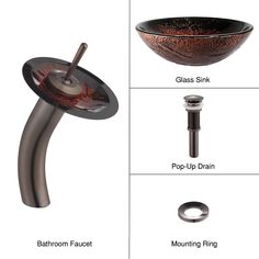 Lava Glass Vessel Sink and Waterfall Faucet Oil Rubbed Bronze