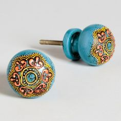 Turquoise Painted Round Wooden Knobs, Set of 2 | World Market