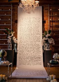 It doesn't get more romantic then this. Exchange your vows in front of a backdrop with your favorite love poem inscribed on it.