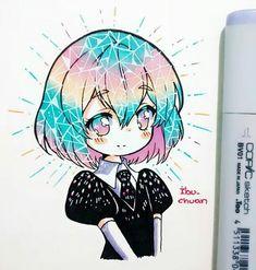 Houseki no Kuni Manga Drawing, Manga Art, Manga Anime, Anime Art, Copic Drawings, Kawaii Drawings, Cute Drawings, Kawaii Chibi, Kawaii Art