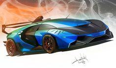 lambo by Aleksandr Sidelnikov on ArtStation. Lamborghini Concept, Sports Cars Lamborghini, Best Car Photo, Cool Car Drawings, Good Looking Cars, Exotic Sports Cars, Super Sport Cars, Best Luxury Cars, Futuristic Cars