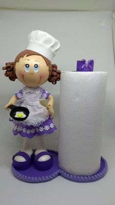 Crafts To Make And Sell, Diy And Crafts, Crafts For Kids, Bathroom Crafts, Polymer Clay Dolls, Paper Towel Holder, Foam Crafts, Diy Clay, Crochet Home