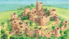 Story of castles - Q-files Encyclopedia Castle Ruins, Medieval Castle, Fantasy Places, Fantasy World, Knights Hospitaller, Castle Illustration, Fantasy Castle, Fantasy Setting, Fortification