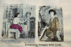 Image transfer with printer, transparency and gel medium.  Fabric crayon used for color.