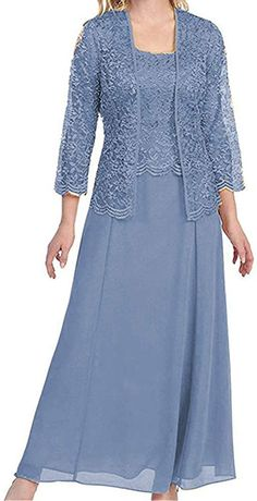 Stylefun Mother of The Bride Dresses with Lace Jacket for mom Formal Dresses With Sleeves, Formal Dresses For Women, Formal Evening Dresses, Evening Gowns, Mother Of The Bride Dresses Long, Mothers Dresses, Grooms Mother Dresses, Mother Of Bride Outfits, Grandma Dress