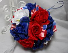 Red White And Blue Pomander Kissing Ball With by TheWeddingPetal, $49.95