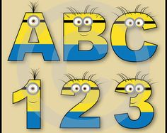Minions Alphabet letters & Numbers Clip Art Graphics