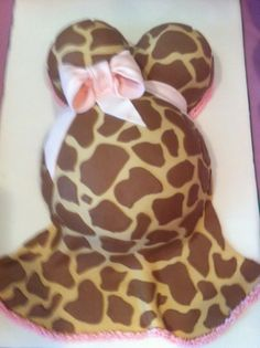 Giraffe Print Dress Baby Bump Cake