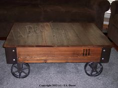 Factory Cart Coffe Table with Wheels on Corners - Reclaimed Wood - Industrial Rustic Coffee Table. $449.95, via Etsy.