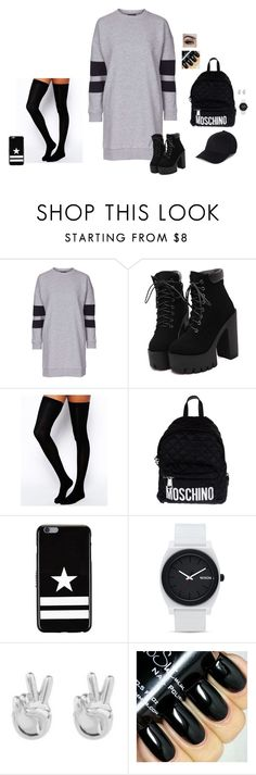 """Sporty Edge"" by hanakdudley ❤ liked on Polyvore featuring Topshop, ASOS, Moschino, Givenchy, Nixon, Rock 'N Rose, women's clothing, women, female and woman"