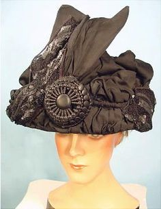 """1910 Gigantic Black """"Lampshade"""" Hat with Bead and Sequin Trim"""