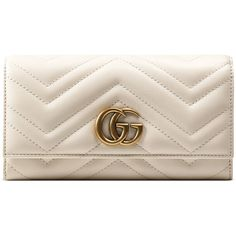 Gucci Gg Marmont Continental Wallet ($750) ❤ liked on Polyvore featuring bags, wallets, accessories, wallets & small accessories, white, women, genuine leather wallet, 12 card wallet, snap wallet and leather bags