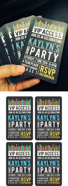 Kaylyn's Dance Party Invite - these came out so well!                                                                                                                                                     More