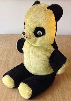 "Vintage 25"" Giant Panda Bear Plush Googly Eyes 1940 1950 Stuffed ..."