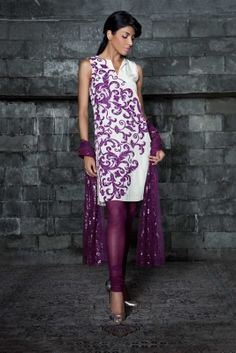 Magenta Velvet Salwar with sheer tight pants