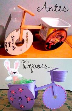 Ideas for diy kids crafts recycle old cds Kids Crafts, Easter Crafts, Projects For Kids, Diy For Kids, Diy And Crafts, Diy Projects, Art N Craft, Craft Stick Crafts, Diy Art