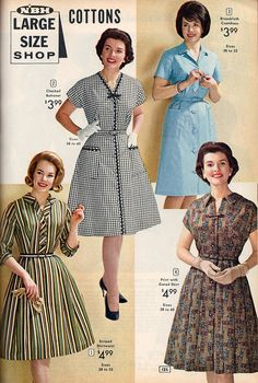 Four classic daywear dresses from the NBH catalog, Vintage Outfits, 1960s Outfits, Vintage Dresses, Moda Vintage, Vintage Mode, Vintage Fur, 60 Fashion, 1950s Fashion, Vintage Fashion