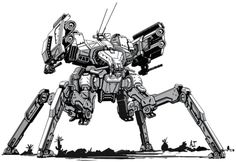 How Would Quad Mechs Exhibit Their Capabilities In This Game? Cyberpunk, Arte Robot, Robot Art, Character Concept, Character Design, 3d Character, Game Design, Mecha Suit, Robot Concept Art