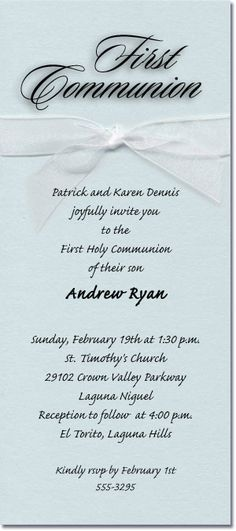 Shimmery Aqua Ribboned Communion Invitations, First Communion Invitations