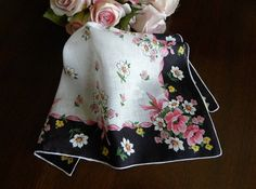 Vintage Black Handkerchief with Pink Wild Roses and Dasies