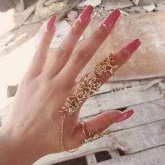 Elegant cutout double linked knuckle ring #Nail-Accessories #buyable