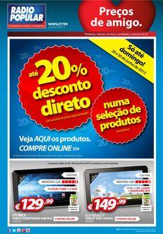 Newsletter - Só este fim de semana: até 20% desconto.  http://www.radiopopular.pt/newsletter/2013/66/