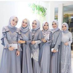 Inspired by cute silver hijab look Hijab Gown, Kebaya Hijab, Hijab Dress Party, Hijab Style Dress, Kebaya Dress, Dress Pesta, Hijab Wedding Dresses, Dress Outfits, Kebaya Modern Hijab