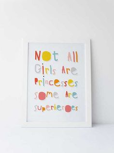 Cute Dinky Mix pink multicolour Not all girls are princesses some are superheroes quote by DinkyMix typography design nursery wall art for bedroom or playroom