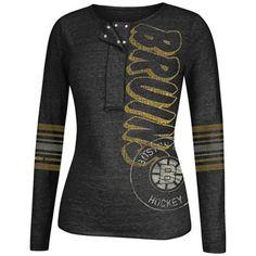 Reebok Boston Bruins Women's CCM Tri-Blend Henley Long Sleeve T-Shirt - Black