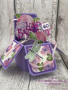 Hydrangea Haven pop up card 60th Birthday Cards, Pop Up, Mini, Stampin Up, Paper Crafts, Hydrangeas, Purple, Card Ideas, Heaven