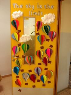 Classroom decoration for kindergarten classroom themes for preschool kindergarten spring classroom door classroom ideas classroom idea . Kindergarten Classroom Door, Preschool Door, Classroom Design, Preschool Kindergarten, Classroom Displays, Classroom Themes, Hot Air Balloon Classroom Theme, The Classroom, Classroom Bulletin Boards