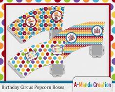 Birthday Circus Printable Popcorn Boxes