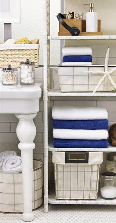 Cut the time it takes to get ready in half by keeping your bathroom essentials organized in plain view.